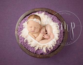 Wooden Bucket Newborn Photo Prop Plum Mauve with fur DIGITAL BACKDROP BACKGROUND