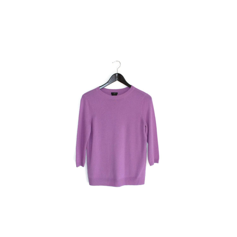 Vintage amethyst cashmere sweater / Boxy lavender 1990s jumper