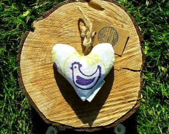 Fleurs Garden Lavender Heart, Decorative heart, Lavender sachet, Scented pillow, Chickens, hens