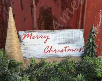 Hand-painted wooden Merry Christmas sign - Christmas, rustic
