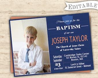 Editable Baptism Invitation Boy Modern Digital Print Blue Navy Orange Printable PDF Editable LDS Baptism boy invitation baptism printable