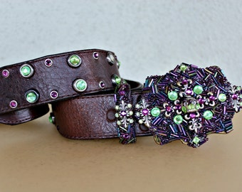 Handmade Mid Century Style Sterling Silver and Swarovski Crystal Embellished Belt Buckle