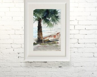 "Printable wall art  Watercolor poster ""Lonely boat"" Home decor"