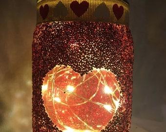 Glitter Heart Mason Jar Luminary