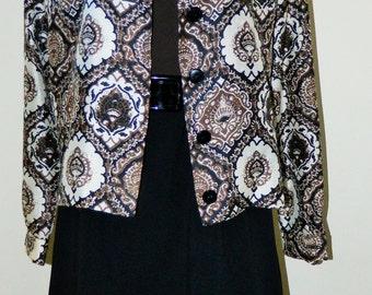 Vtg 60's MR Mort OP ART Black & Brown Twiggy Dress with Jacket S/M Excellent Condition!