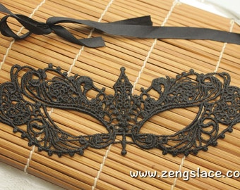 Masquerade Lace mask, Carnival Party Mask, Masquerade Costume, Black Venice Lace Mask, Gothic mask, LM-17-BL