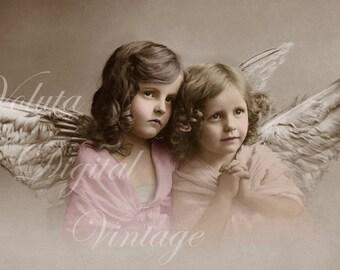 Two little Angels. Digital download  -  Edwardian Vintage Postcard.