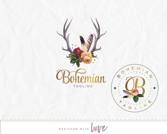 Boho Logo, Tribal Logo, Gold Logo, Watercolor Logo, Antlers with flowers and feathers, Unique Logo,  Logo, Custom/ Premade Logo, Hand-drawn