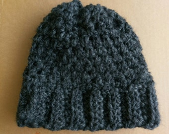 "The ""Claire"" Moss Stitch Wool Blend Crochet Hat in Charcoal"