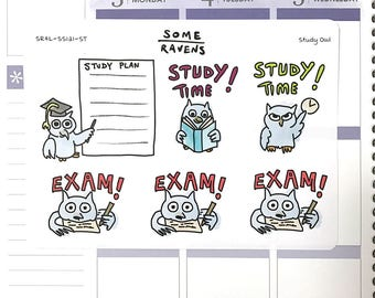 Large Study Owl Planner Stickers. Study Time!