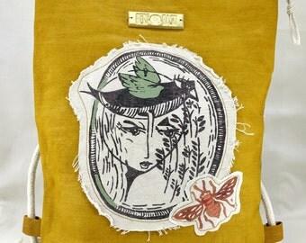 Yellow Handpainted Handprinted Designer's Backpack