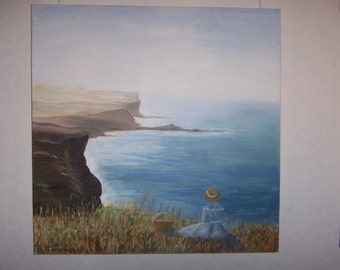 "An original oil painting of cliffs in the UK 24"" x 24"" (61cm x 61cm) on a box canvas ready to hang"
