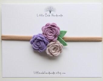 Wool Felt Trio Rose Bouquet Headband - Lavender, Violet, Strawberries and Cream Flower Headband - Baby Headband - Nylon Headband