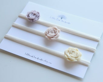 Set of 3 Wool Mini Rose Felt Flower Headband - Strawberries and Cream, Rose Beige, Custard - Baby Headband - Nylon Headband