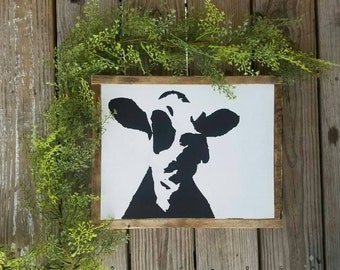 Cow Wooden Sign; Farmhouse; Rustic