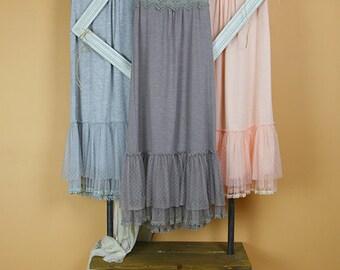 Mesh Tank Lace Trim Slip Dress