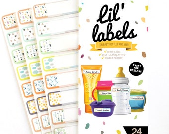 Bottle Labels (Playful Patterns 24pk / waterproof labels for daycare / dishwasher-safe labels for school) FREE ship in US