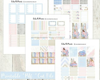 Bookworm Printable Planner Stickers/Weekly Kit/Erin Condren/Cutfiles Spring Summer Books Reading Library Glitter Glam Pastel