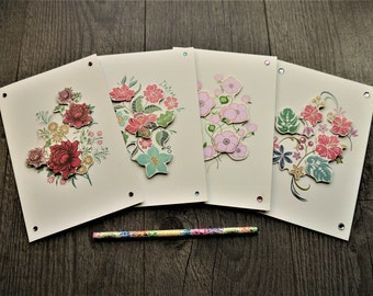 Set of 4 Handmade Light Cream 3D Cards - Birthday Cards - Mother's Day Cards - Anniversary Cards - Card Sets