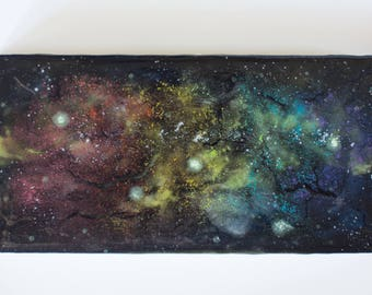 Birch Wood Panel Acrylic Space Painting Stardust #6