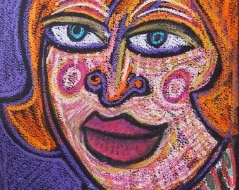 Strong Woman Oil Pastel Original drawing