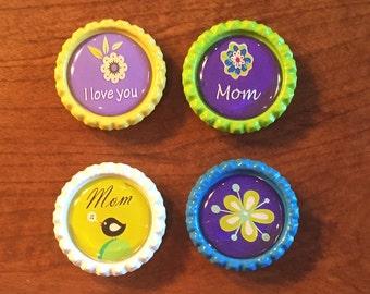 Handmade Mom, I Love You. 1 inch Bottlecap Magnets, Set of 4