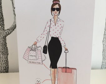 """Greeting card (Linen) with envelop """"Businessgirl 2"""""""