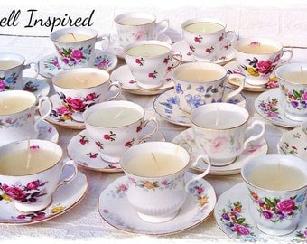 Wedding favours, party favours, table decor bulk, mismatch teacups, bulk tea cups, wholesale candles, teacup candles, bulk favours