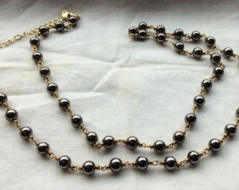 Carolina Herrera chain necklace gold graphite balls vintage designer gift collectible