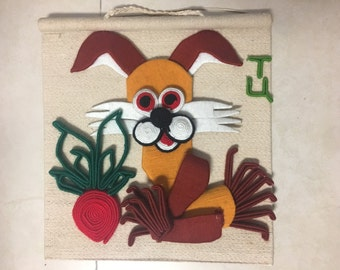 Rabbit with radish---A painting made with cotton thread