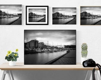 Sailboats Printable art, digital print, black and white photo, instant download, docked boats wall art, sailboat on water poster prints
