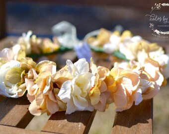 """The """"Ayla"""" Floral Halo Crown // peach and ivory wedding, flower crown, bridesmaid crown, flower girl crown, floral halo, bohemian crown"""