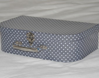 Cotton suitcase coated grey white star