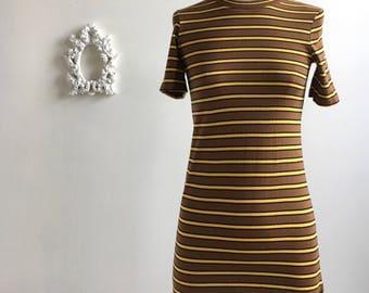 Super cute! // Vintage 1970's // Striped Mini Dress