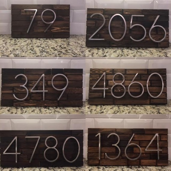 Address plaque made from wood and modern numbers custom house for Modern house numbers canada