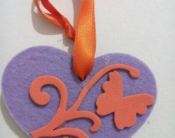 Lilac and orange craft foam rubber felt heart