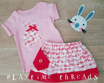 SUMMER CLEARANCE Bunny Skirt and Top Set, Size 2, Girls Clothing, Handmade, Girls Clothes, Red and Pink, Girls Skirts
