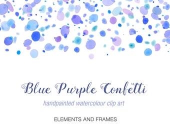 Watercolour Clip Art  - Purple Blue Confetti, Elements and Frames