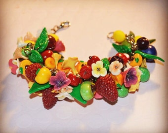 New handmade polymer clay fruit bracelet, spring jewelry, colorful bracelet, flower food bracelet, food charm