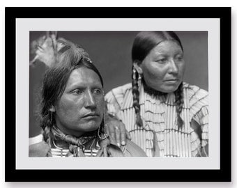 American Indian Couple Photo, Print, Black White Photograph, Indigenous Americans, Tribal, Portrait of Native American Chief, 1900s