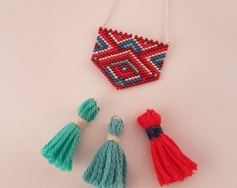 Ohneka colors red, blue and silver necklace