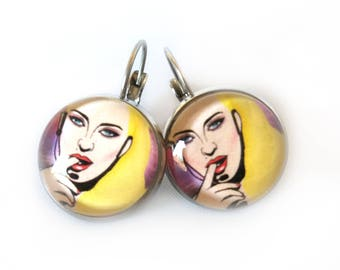Madonna earrings, Madonna jewellery, Pop music, Glass dome earrings, Colorful earrings, Famous, Dangle earrings, Gift for her