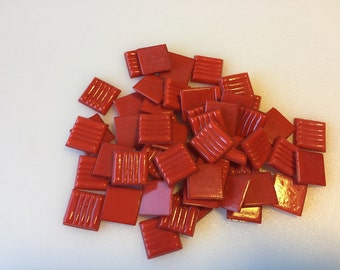 "35 - 3/4"" Red Venetian Glass Mosaic Tiles"