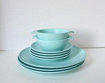 Vintage Melamine Watertown Lifetime Ware Dishes Aqua Blue 1950s Mid Century Plastic Plates Bowls & 50s plastic dishes   Etsy