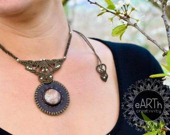 Necklace Macramè and Leather with Moonstone