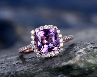 Purple Amethyst engagement ring-Solid 14k rose gold-handmade diamond ring-Halo stacking band-8x8mm Cushion cut gemstone promise ring
