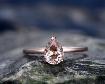 Morganite engagement ring-handmade Solid 14k Rose gold ring-Solitaire Stacking band-6x8mm Tear Drop gemstone promise ring-Bridal Ring