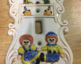 Ceramic Raggedy Ann & Andy Single Light Switch Cover
