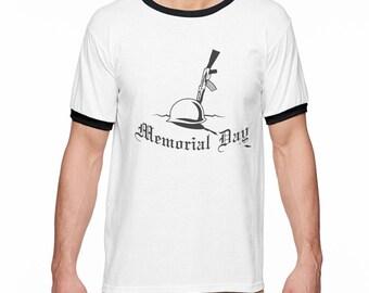 Memorial Day Soldier Cross Men's White Ringer Tee NEW Sizes S-2XL