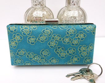 Wedding clutch, green clutch, minaudiere clutch, floral clutch, wife gift, gift for mum, gift for her